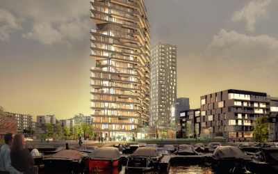 GRC façade elements supplied and installed on the highest timber building in the Netherlands